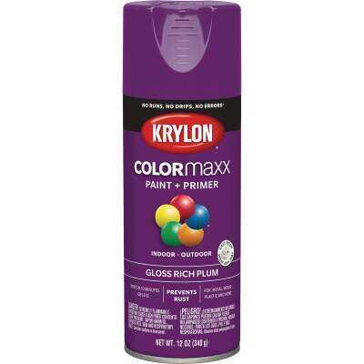 Krylon Colormaxx Gloss Spray Paint & Primer, Rich Plum