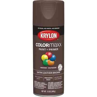 Krylon Colormaxx Satin Spray Paint & Primer, Leather Brown