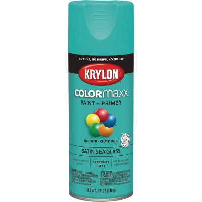 Krylon Colormaxx Satin Spray Paint & Primer, Sea Glass