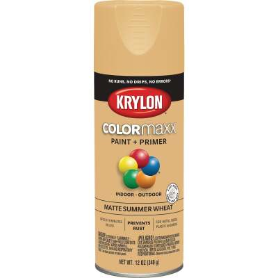 Krylon Colormaxx Matte Spray Paint & Primer, Summer Wheat