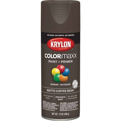 Krylon Colormaxx Matte Spray Paint & Primer, Coffee Bean