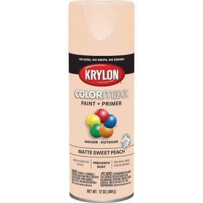 Krylon Colormaxx Matte Spray Paint & Primer, Sweet Peach