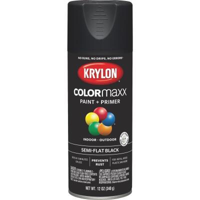 Krylon Colormaxx Semi-Flat Spray Paint & Primer, Black