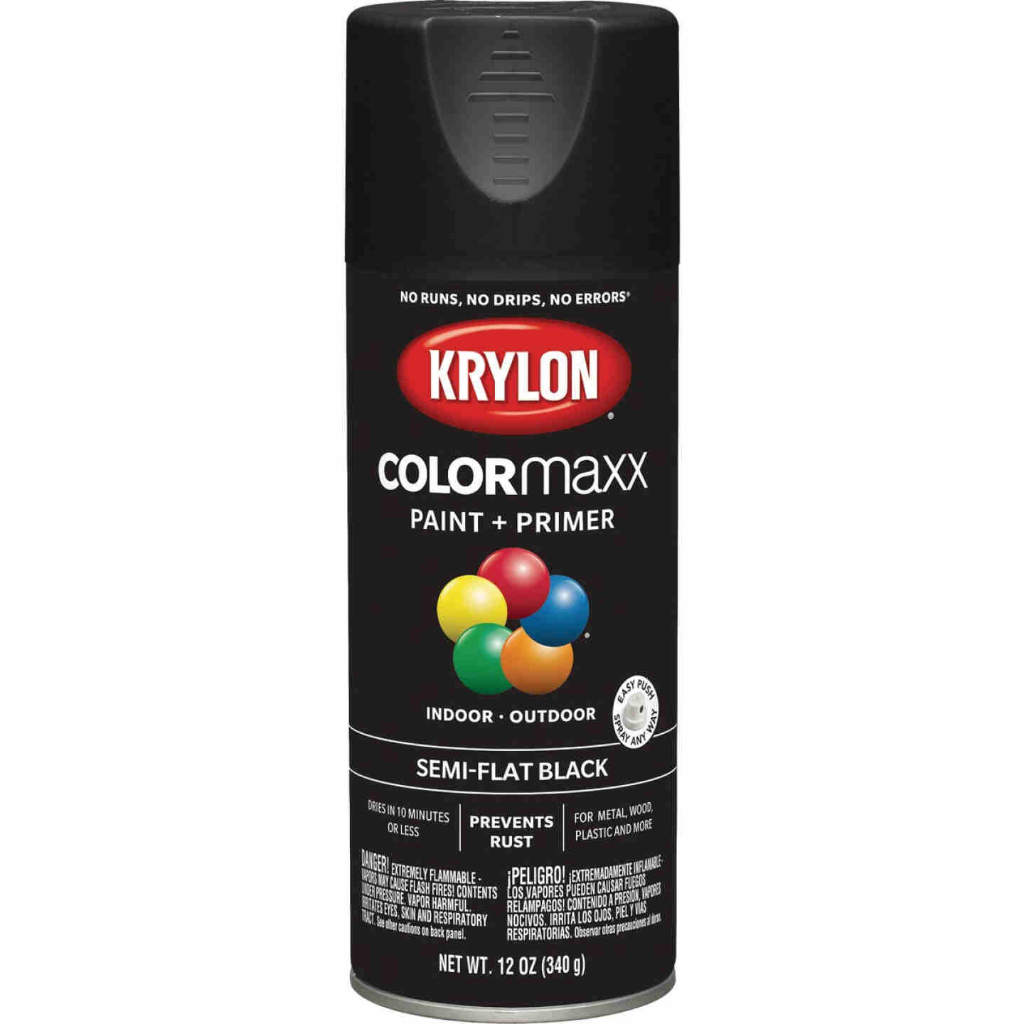Krylon Colormaxx Semi-Flat Spray Paint & Primer, Black Image 1