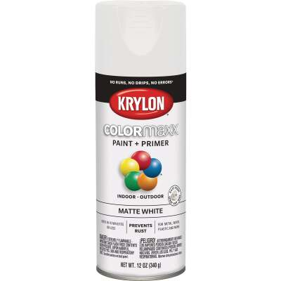 Krylon Colormaxx Matte Spray Paint & Primer, White