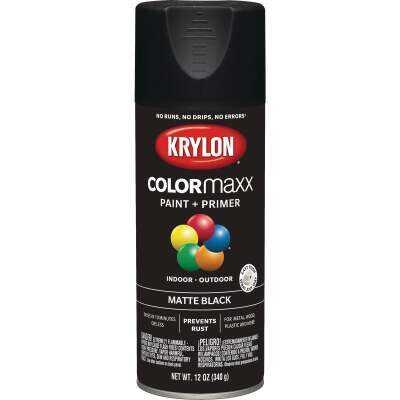 Krylon Colormaxx Matte Spray Paint & Primer, Black