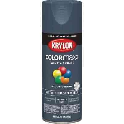 Krylon Colormaxx Matte Spray Paint & Primer, Denim Blue