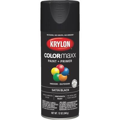 Krylon ColorMaxx12 Oz. Satin Spray Paint, Black