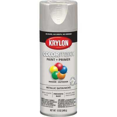 Krylon ColorMaxx 11 Oz. Brushed Metallic Satin Spray Paint, Nickel