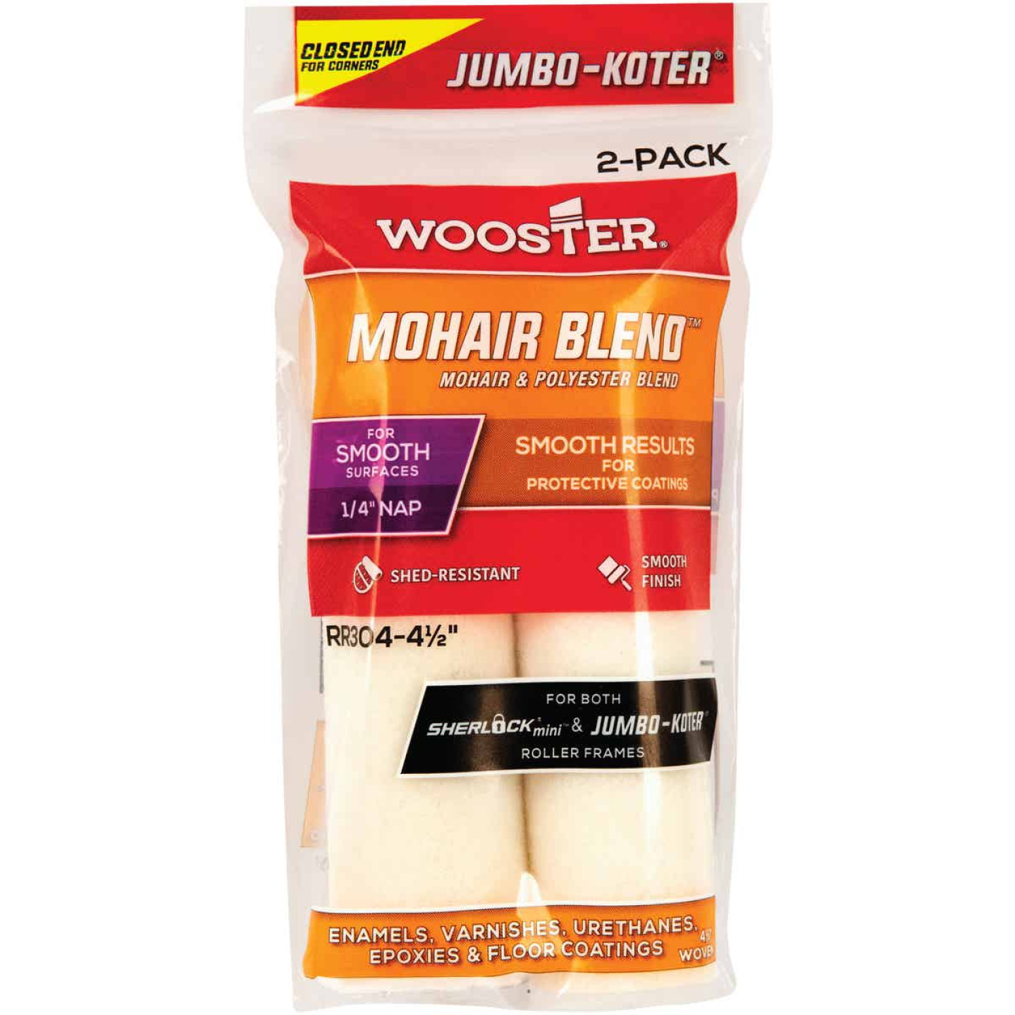 Wooster Jumbo-Koter 4-1/2 In. x 1/4 In. Mohair Blend Mini Woven Fabric Roller Cover (2-Pack) Image 1