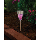 Outdoor Expressions Green, Red, or Purple 2.10 Lumens Stainless Steel Solar Path Light Image 2