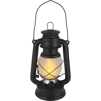 Everlasting Glow 4.5 In. W. x 9.5 In. H. x 6.25 In. L. Matte Black Hurricane Lantern