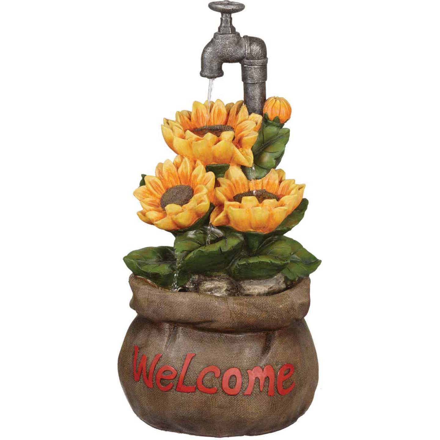 Best Garden 13 In. W. x 28 In. H. x 13 In. L. Polyresin Sunflower Fountain Image 1