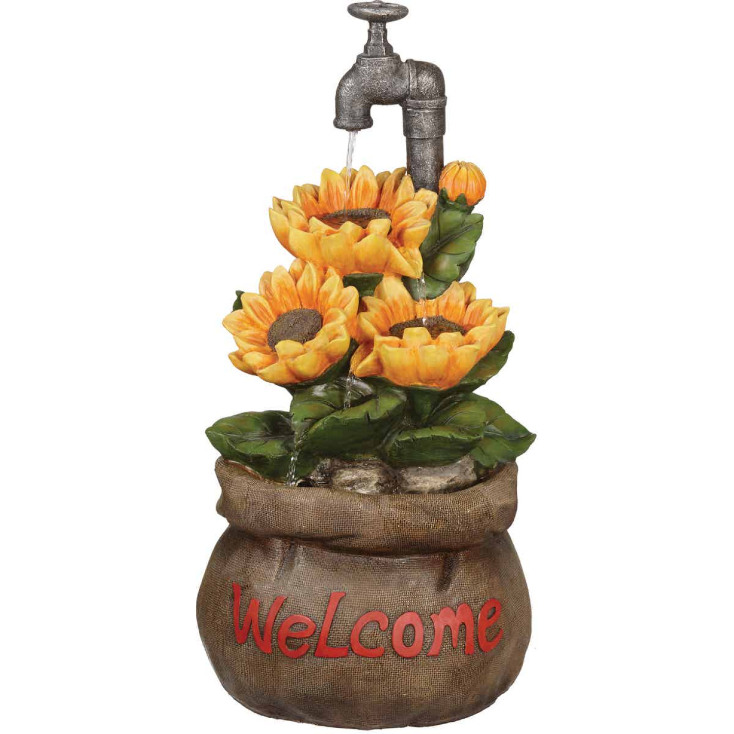 Best Garden 13 In. W. x 28 In. H. x 13 In. L. Polyresin Sunflower Fountain Image 3