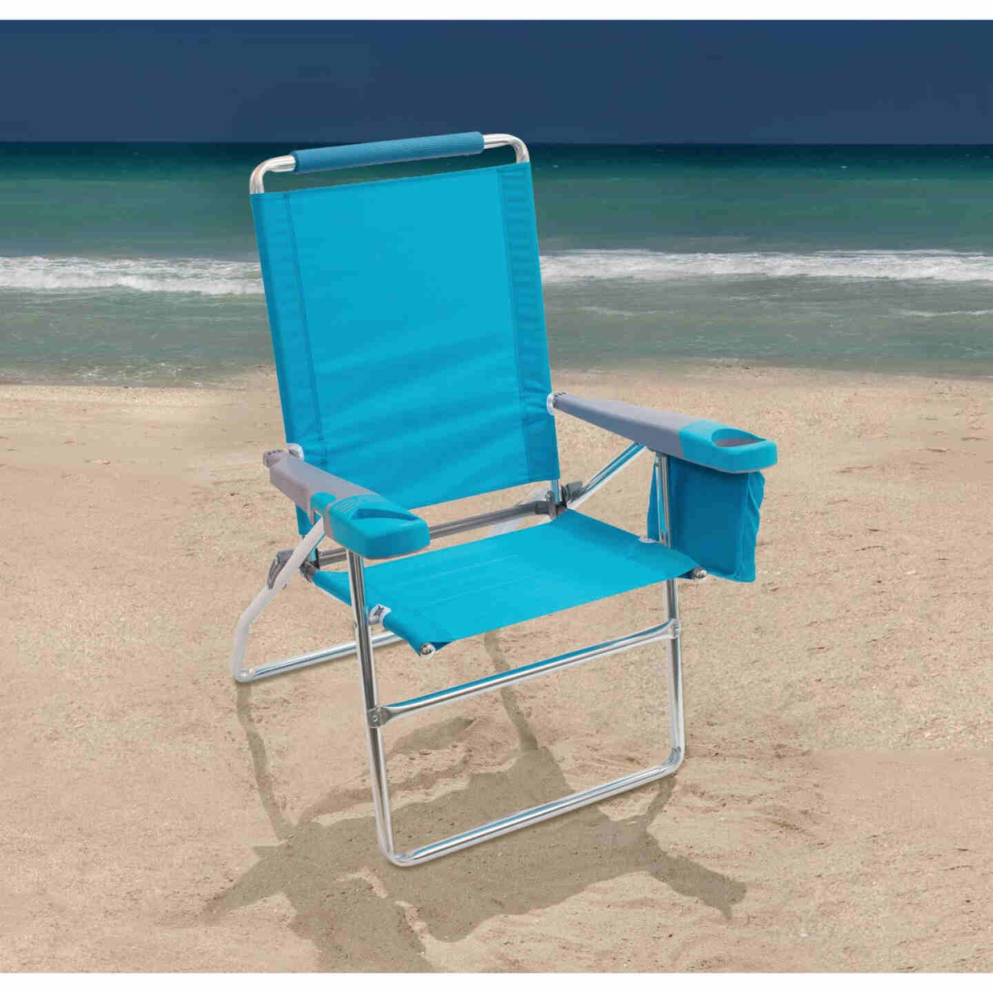 Rio Brands 4-Position Aluminum Folding Beach Chair with Cooler Image 3