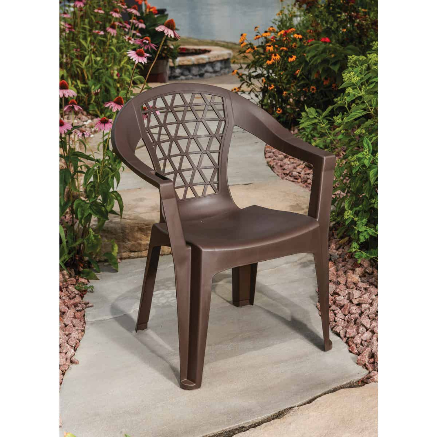 Adams Penza Earth Brown Resin Stackable Chair Image 2