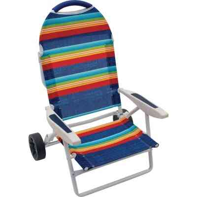 Rio Brands Transporter 5-Position Striped Steel Folding Beach Chair