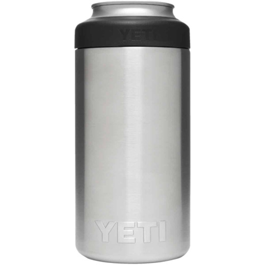 Yeti Rambler Colster Tall 16 Oz. Silver Stainless Steel Insulated Drink Holder with Load-And-Lock Gasket